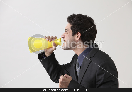 yelling stock photo, Businessman with megaphone shouting by eskaylim