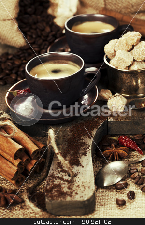 freshly prepared  italian espresso stock photo,  freshly prepared  italian espresso with cinnamon, coffee beans, sugar and spices by klenova