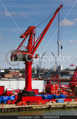 Big red crane in port stock photo, Big red crane in port on sunny day with blue sky background by Colette Planken-Kooij