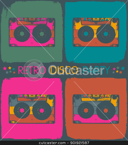 Retro disco party invitation in pop-art style. Vector, EPS8 stock vector clipart, Retro disco party invitation in pop-art style. Vector, EPS8 by pashabo