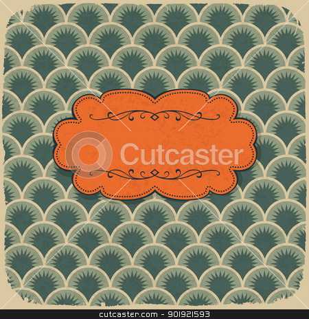 Vintage scale pattern with retro label. Vector, EPS10 stock vector clipart, Vintage scale pattern with retro label. Vector, EPS10 by pashabo