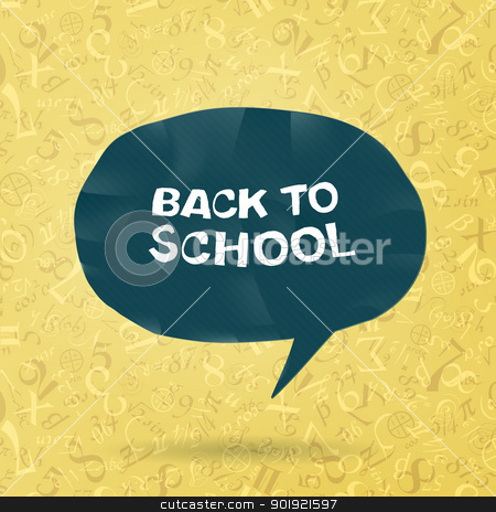Back to school text in speech bubble on figures and formulas bac stock vector clipart, Back to school text in speech bubble on figures and formulas background. Vector illustration, EPS10 by pashabo
