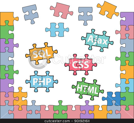 Web development puzzle HTML PHP solutions stock vector clipart, HTML PHP CSS SQL jigsaw puzzle pieces in internet web development solutions by Michael Brown