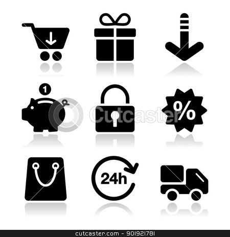 Shopping on internet black icons set with shadow stock vector clipart, Shopping online icons - shopping cart, bag, sale, delivery by Agnieszka Bernacka