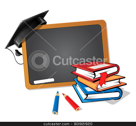 Back to school stock vector clipart, Stack of books with a blackboard and a graduation hat background by Alfio Roberto Silvestro