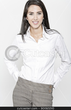 Woman in smart business suit stock photo, Professional working woman in corporate business trousers and shirt by Gareth Lewis