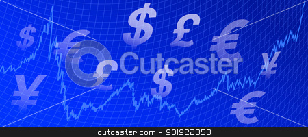 Graph Money background stock vector clipart, Stock Market Graph with currency symbols on a blue background by Fenton