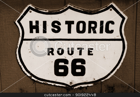 Historic route 66 stock photo, Old historic route 66 sign in sepia by Sreedhar Yedlapati