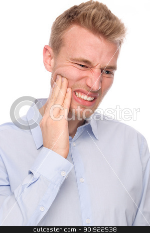 Toothache stock photo, Full isolated portrait of a  young man with tooth ache by Picturehunter