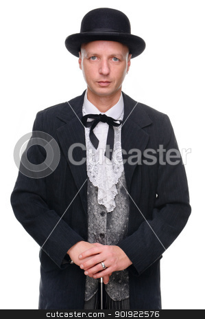 Farmer stock photo, Full isolated picture from a farmer in western style by Picturehunter