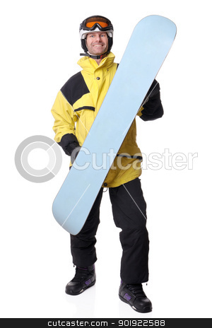 Snowboarder stock photo, Full isolated studio picture from a snowboarder by Picturehunter