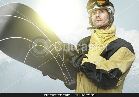 Snowboarder stock photo, Snowboarder in the mountains by Picturehunter