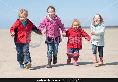 At the beach stock photo, Children running at the beach by Picturehunter