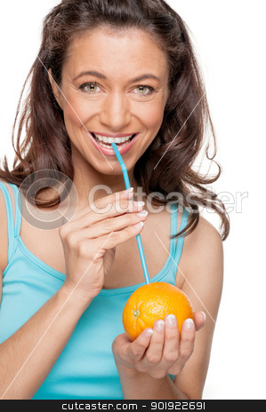 Woman with straw and orange stock photo, Full isolated woman with straw and orange by Picturehunter