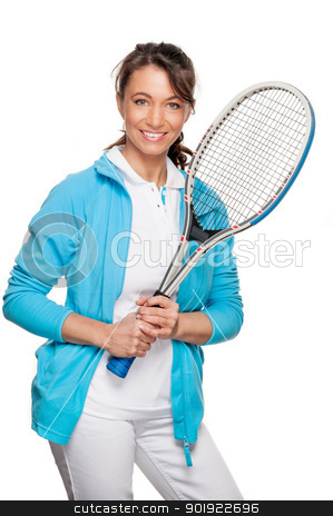 Playing tennis stock photo, Full isolated woman with tennis racket by Picturehunter