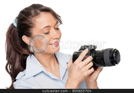 Woman with dslr stock photo, Full isolated woman with dslr by Picturehunter