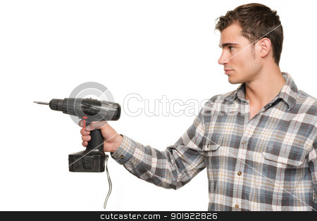 Man with drill machine stock photo, Smiling young man with drill machine in front of white background by Picturehunter