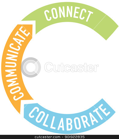 Connect collaborate communicate arrows stock vector clipart, Big letter C starts your words about collaboration, connection, communication by Michael Brown
