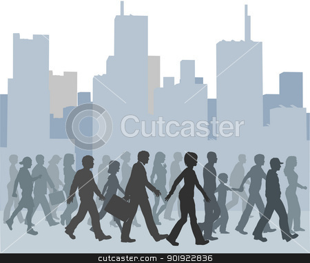 Crowd of people walking city skyline stock vector clipart, Crowd of city people walk together toward something against a buildings skyline  by Michael Brown