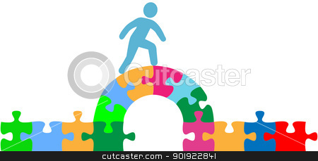Person walking over puzzle bridge solution stock vector clipart, Person walking over jigsaw puzzle bridge to a problem solution by Michael Brown