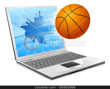 Basketball ball laptop concept stock vector clipart, Illustration of a basketball ball flying out of a broken laptop computer screen by Christos Georghiou