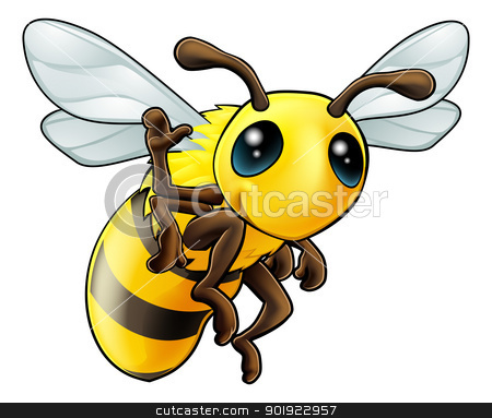 Happy waving cartoon bee stock vector clipart, Illustration of a cute happy waving cartoon bee character by Christos Georghiou