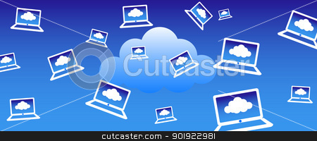 Cloud Computing Background stock vector clipart, Client computers communicating with the cloud concept by Fenton
