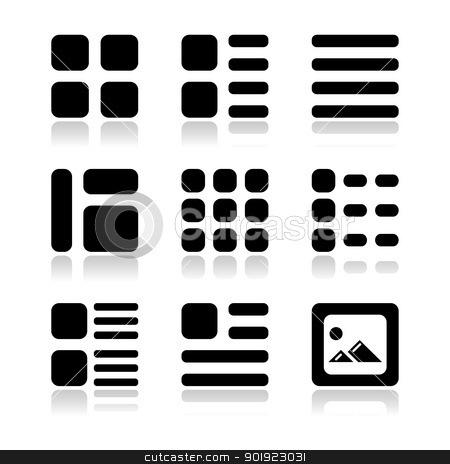 Gallery view Display options icons set - list, grid stock vector clipart, Black icons with shadow - displaying thumbnails of images and text on website by Agnieszka Murphy