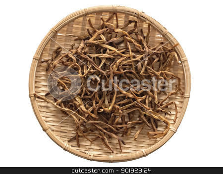 dried daylily stock photo, close up of a basket of dried daylily isolated on white by zkruger