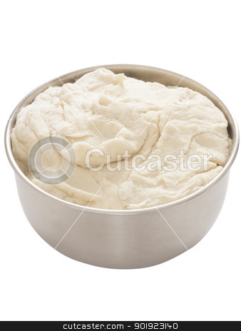 flour dough stock photo, close up of a bowl of flour dough by zkruger