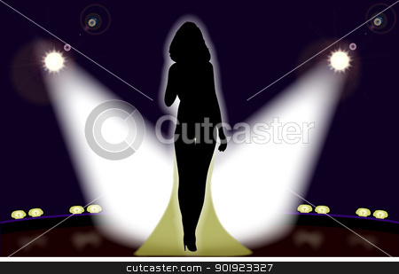 The Singer stock vector clipart, Sexy lady in the stage spotlights. by Kotto