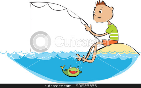 Fishing boy stock vector clipart, Vector cartoon of a fishing boy by Vanda Grigorovic