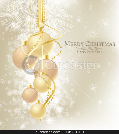 Christmas balls stock vector clipart, Elegant Christmas background with brown and gold  baubles  by Miroslava Hlavacova