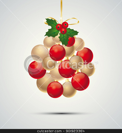 Christmas balls stock vector clipart, Christmas decoration with balls on a gray background by Miroslava Hlavacova