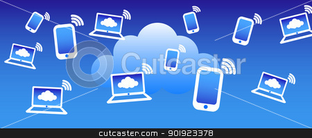 Cloud Phone Computing Background stock vector clipart, Phone computers communicating with the cloud concept by Fenton