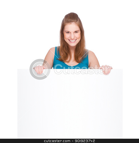 Woman with banner stock photo, Full isolated studio picture from a young woman with white copyspace sign (banner) by Picturehunter