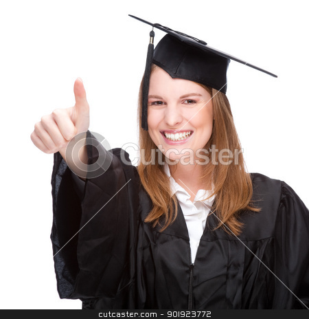 Graduate woman stock photo, Full isolated studio picture from a young graduation woman  by Picturehunter