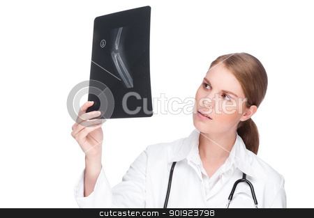 Doctor with x-ray stock photo, Full isolated portrait of a beautiful caucasian doctor with x-ray by Picturehunter