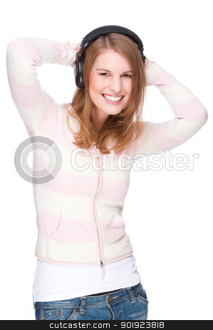 Listen to the music stock photo, Full isolated portrait of a beautiful caucasian woman listen to the music by Picturehunter