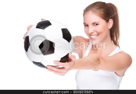 Female football fan stock photo, Full isolated studio picture from a young and beautiful woman with football by Picturehunter