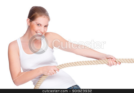 Tug of war stock photo, Full isolated studio picture from a young and beautiful woman doing tug of war by Picturehunter