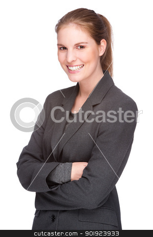 Businesswoman stock photo, Full isolated studio picture from a young and beautiful business woman by Picturehunter