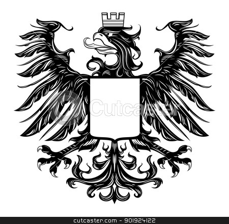 Heraldic style eagle isolated on white stock vector clipart, Heraldic style eagle isolated on white by Moenez