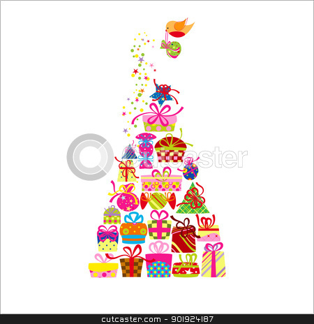 Christmas Greeting Card Colorful Present stock vector clipart, Christmas Greeting Card Colorful Present and Robin Bird by meikis