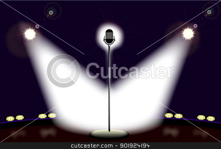 Spotlights on the Stage. stock vector clipart, Empty stage with microphone and spotlights. by Kotto