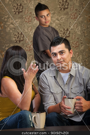 Frustrated Parents stock photo, Frustrated mother and father with teen child by Scott Griessel