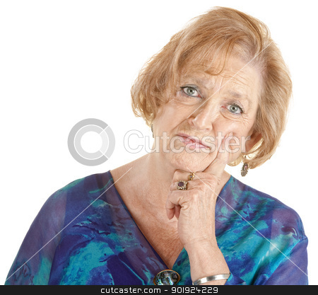 Serious Thinking Woman stock photo, Serious Caucasian lady in blue with finger on cheek by Scott Griessel