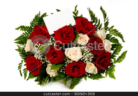 Roses with gift card stock photo, Bouquet of rose flowers with a blank gift card, isolated on white background. Write your own tekst. by Lars Christensen