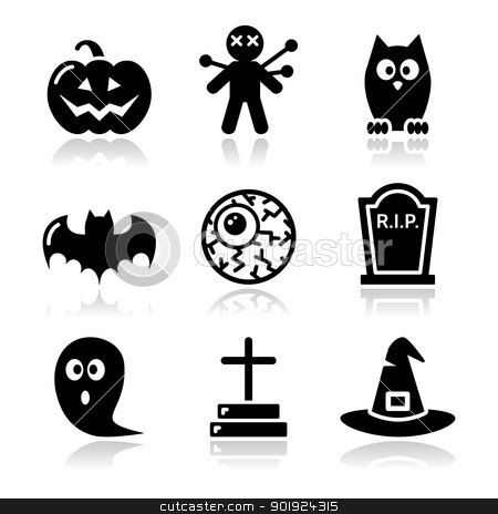 Halloween black icons set - pumpkin, witch, ghost stock vector clipart, Scarry black icons set for hallowen party by Agnieszka Bernacka
