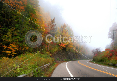 Fog on the High way stock photo, Beautiful autumn drive in Allegheny national forest by Sreedhar Yedlapati